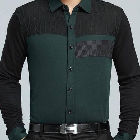 翻领拼色棉衬衣 春秋薄款男装 高档商务新款男式长袖衬衫祥盛