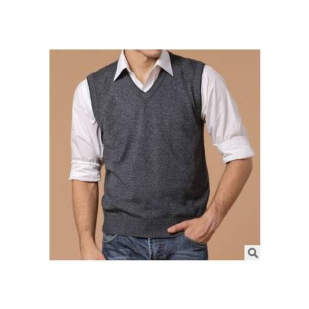 提花纯色羊毛羊绒背心 男式针织马甲正品男装 春秋薄款毛线背心祥盛