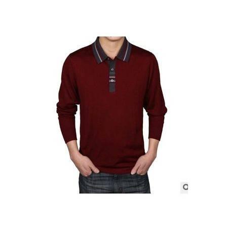 中年商务翻领纯色桑蚕丝T恤衫春款男士正品长袖T恤 男士长袖T恤祥盛