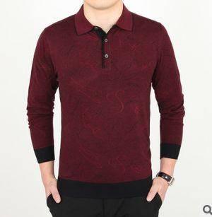 翻领薄款羊毛羊绒T恤 中年男装春款长袖T恤春装新款男士长袖T恤 祥盛