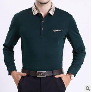 翻领纯色棉T恤衫 商务青年男装新款春秋薄款男士长袖T恤祥盛包邮