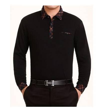 薄款春秋纯棉T恤衫 商务格子衬衫领体恤新款男士长袖T恤祥盛
