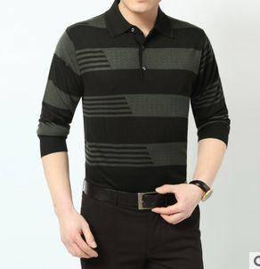 翻领条纹针织T恤衫 薄款商务男装爆款新款春秋男士长袖T恤 祥盛