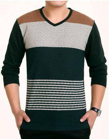薄款春秋装V领T恤 时尚条纹羊毛针织T恤新款男士长袖T恤衫祥盛