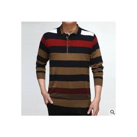 中年翻领宽条纹羊毛针织T恤 春秋薄款T恤新款男士长袖T恤 祥盛
