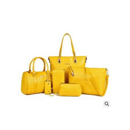 手提单肩斜跨多用女士包爆款欧美时尚鳄鱼纹子母六件套征途包邮