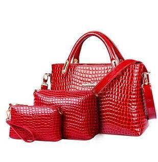 鳄鱼纹女士子母包包单肩斜跨手提三件套女包欧美时尚潮流新款征途包邮