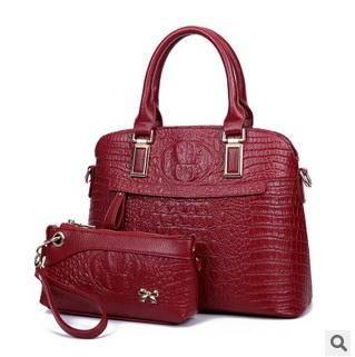 单肩斜跨女士包新款时尚鳄鱼纹子母包两件套手提包 征途包邮