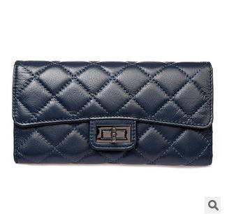女士简约锁扣手拿包韩版时尚新款菱格3折长款钱夹征途包邮