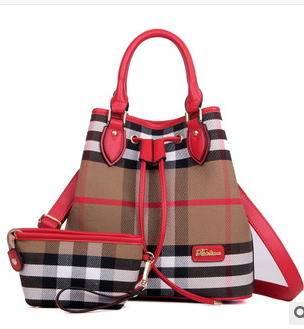 单肩斜挎手提大容量女包新款欧美时尚格子子母包 征途包邮