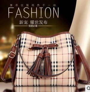 手提单肩流苏百搭包包 2015新款时尚经典格子女包征途包邮