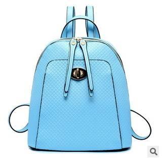 多隔层大容量背包 2015欧美时尚新款菱格锁扣双肩包征途包邮