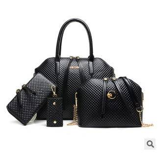 单肩斜跨手提多用女包时尚新款菱格子母包四件套征途包邮