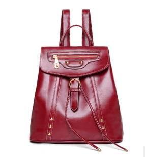 新款欧美潮流时尚休闲高端油蜡皮拉链双肩背单肩斜跨女士包包征途