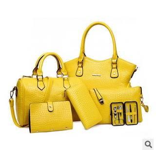 单肩斜挎女士手提手拿多用包包爆款欧美时尚鳄鱼纹六件套子母包征途包邮