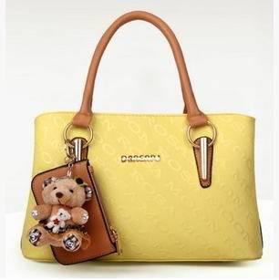 韩版时尚潮流 单肩手提包新款小熊吊坠子母女士包包征途包邮