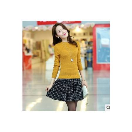 新款女装韩版长袖针织假两件千鸟格毛衣裙 洪合
