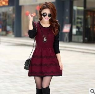 韩版长袖针织连衣裙显瘦收腰毛衣裙春装新款洪合