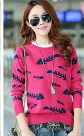女式韩版鱼骨头针织衫花边领套头羊毛打底衫春季爆款洪合