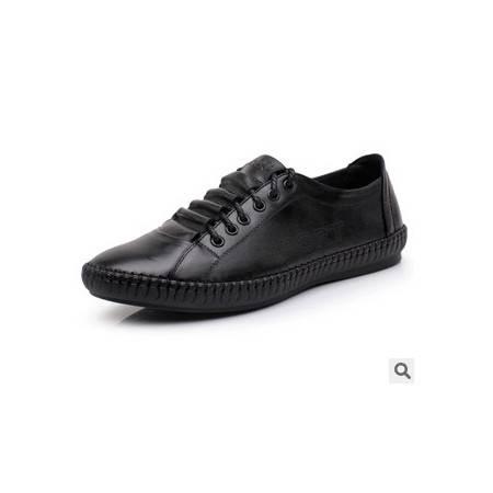 正装休闲英伦风系带真皮男鞋低帮春季新款韩版男士头层牛皮鞋子 富宏包邮