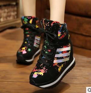 韩版亮皮内增高平底坡跟板鞋女鞋欧洲站2015新款女式单鞋富宏包邮