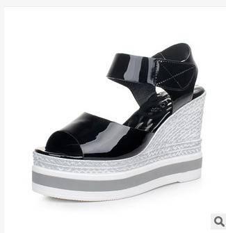 女士高跟鱼嘴鞋凉拖欧洲站2015夏季新款女鞋厚底松糕凉鞋富宏包邮