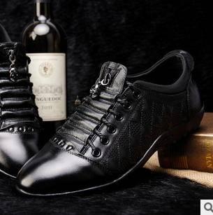 真皮潮流系带皮鞋低帮鞋新款商务休闲男鞋 富宏包邮
