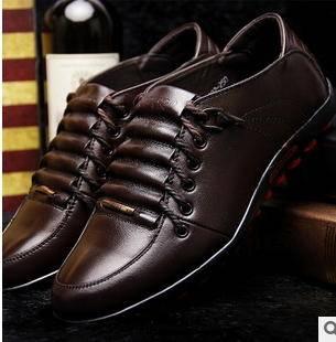 新款时尚休闲商务男鞋舒适牛皮男士单鞋富宏包邮