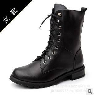 品牌女靴潮流女鞋中筒靴女士马丁靴真皮皮靴承发