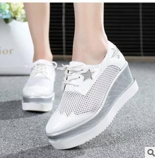 拼色松糕厚底鞋星星图案内增韩版女鞋欧洲站夏季新款网纱女鞋富宏包邮