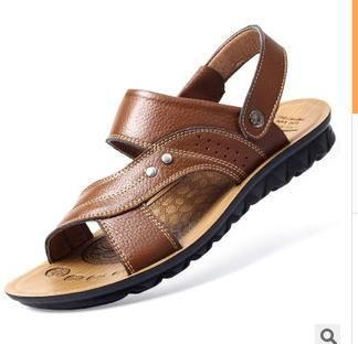 男士凉鞋头层牛皮沙滩鞋男凉拖鞋真皮凉鞋承发