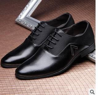春季新款尖头时尚男士商务休闲温州真皮男鞋子承发