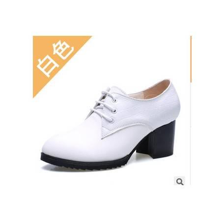 高跟鞋粗跟女士英伦风简约花纹时尚系带单鞋承发包邮