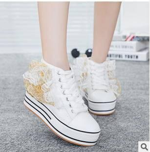女松糕厚底韩版潮布鞋透气低帮休闲鞋2015春季新款帆布鞋承发
