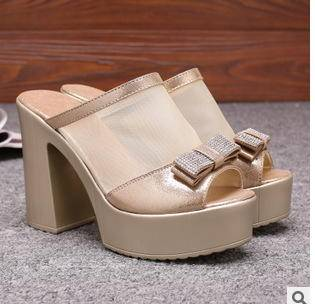粗跟拖鞋夏季新款女士时尚网纱蕾丝鱼嘴高跟鞋承发