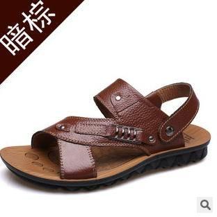 夏季休闲沙滩鞋凉鞋男凉拖鞋2015夏季男士真皮凉鞋承发