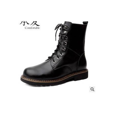 外贸男靴中筒军靴子男潮新款男士皮靴真皮马丁靴承发包邮