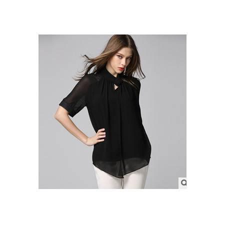 夏装新款立领拼接双层真丝短袖衬衣 韩版纯色气质衬衫女