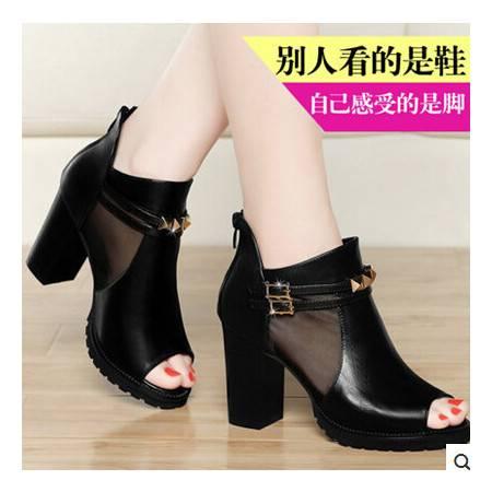夏季女粗跟皮带扣时尚女鞋子 新款高跟鱼嘴鞋网纱凉鞋