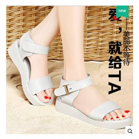 夏季女学生简约厚底休闲鞋潮 新款女鞋平底松糕凉鞋