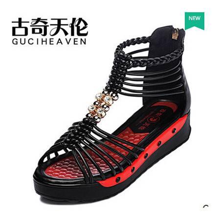 女平底罗马编织女鞋潮夏季新款松糕厚底波西米亚凉鞋