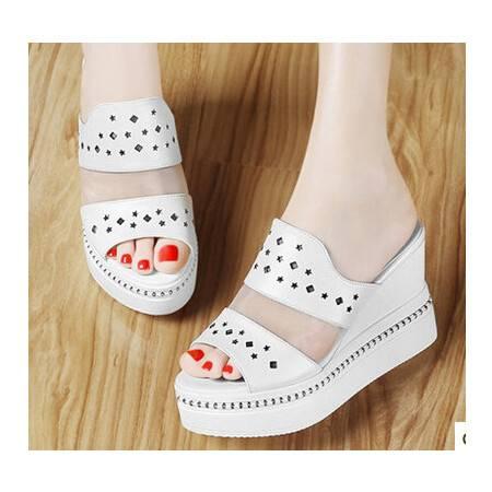 夏季新款高跟凉拖鞋网纱松糕厚底女鞋 鱼嘴凉鞋女坡跟