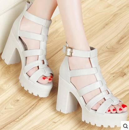 2015夏季女松糕厚底女鞋镂空罗马鞋潮 新款高跟鞋粗跟凉鞋