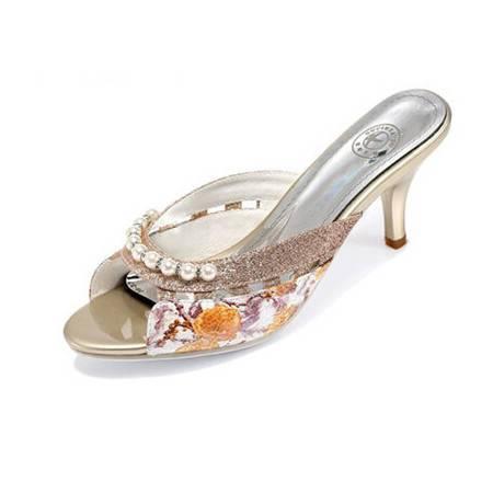 鱼嘴凉鞋罗马女鞋夏季新款高跟凉拖鞋细跟水钻拖鞋