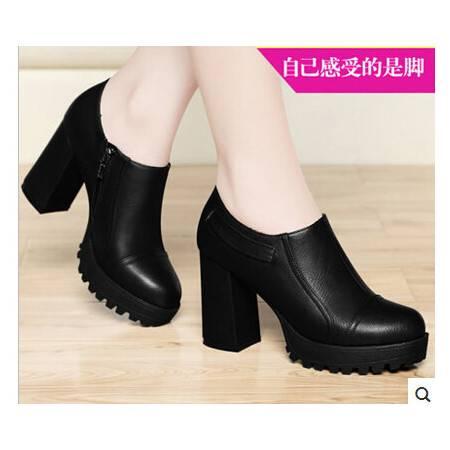 春秋新款女鞋粗跟深口单鞋女高跟鞋厚底防水台休闲鞋