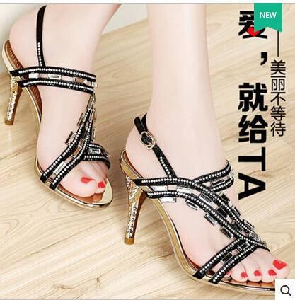 夏季新款性感细跟时尚罗马女鞋 水钻凉鞋女露趾高跟鞋