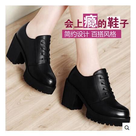 粗跟厚底防水台休闲女鞋春秋新款深口单鞋高跟鞋