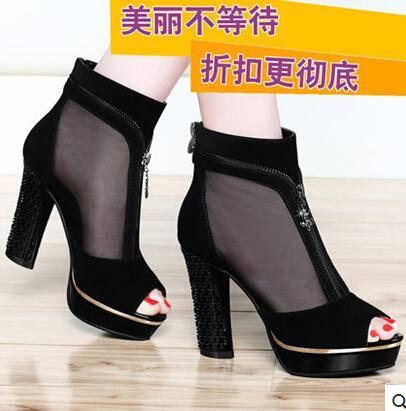 网纱凉鞋女粗跟防水台时尚女鞋潮 2015夏季新款高跟鱼嘴鞋