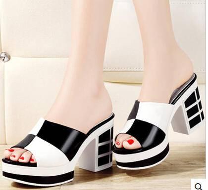 拖鞋夏季松糕厚底凉拖鞋2015新款粗跟女鞋凉鞋高跟鞋
