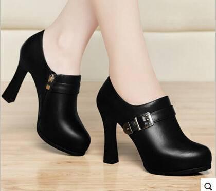 粗跟高跟鞋春秋鞋子春季新款女鞋春款皮鞋防水台